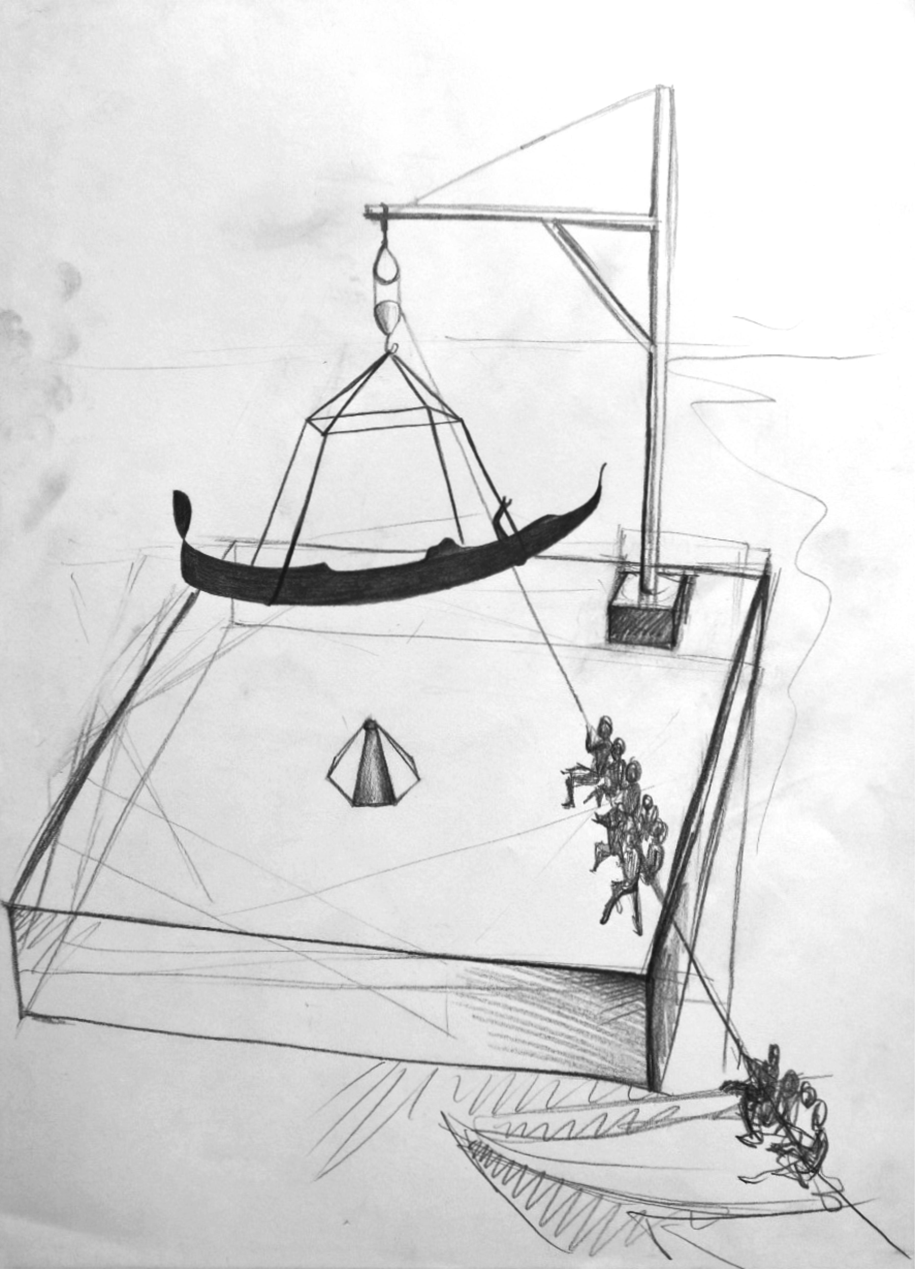 Meta Gondola Fisica, 2017, grafite su carta, cm 42 x 29,7