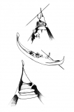 Meta Gondola Fisica, Dipinta di laguna, 2015, grafite su carta, cm 42 x 29,7